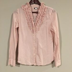 J. Crew Pink & White Button Down with Ruffle Neck